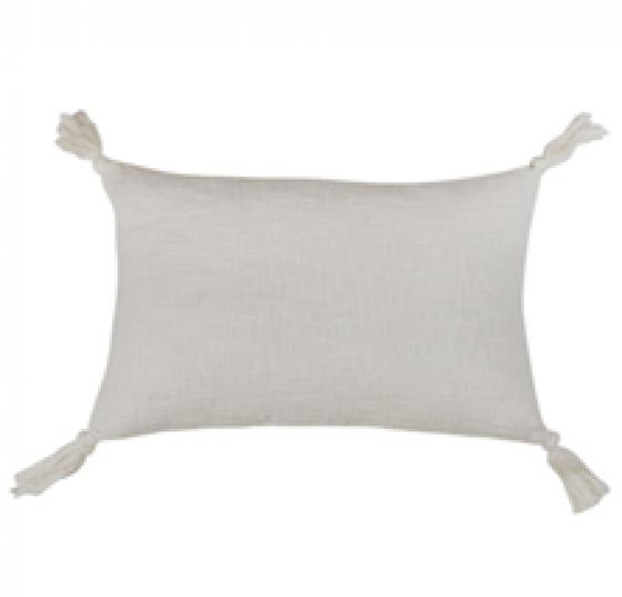 Ivory Tasseled Pillow - Down Filled       main image