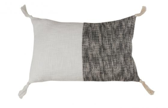Two-Tone Tasseled Cotton Pillow With Down Filling main image