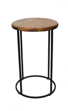 Round Wood & Metal Side Table main image