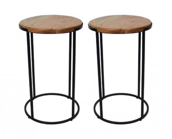 Set of Round Wood & Metal Side Tables main image