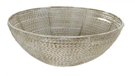 White Wash & Gold Metal Basket main image