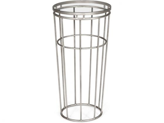 Jonathan Charles Silver iron round end table main image
