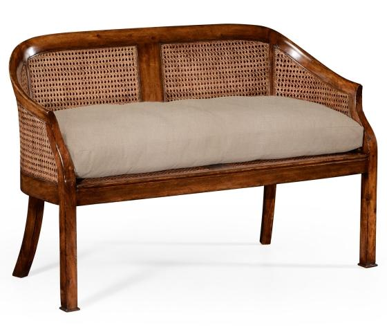 Jonathan Charles Walnut 2-seater salon settee cane main image