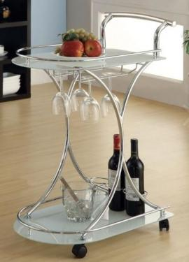 Chrome & White Serving Cart main image