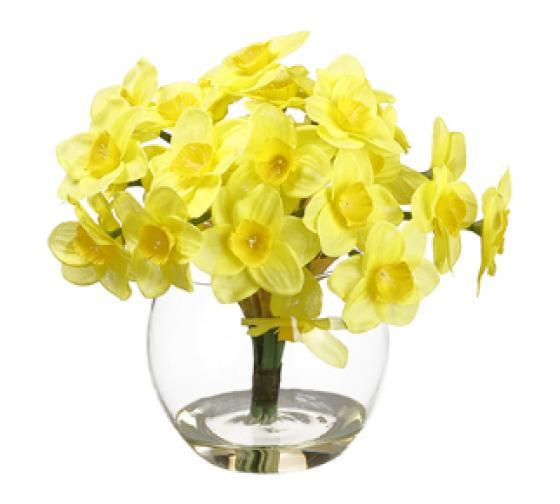 "7"" Daffodil in Glass Vase  Yellow main image"