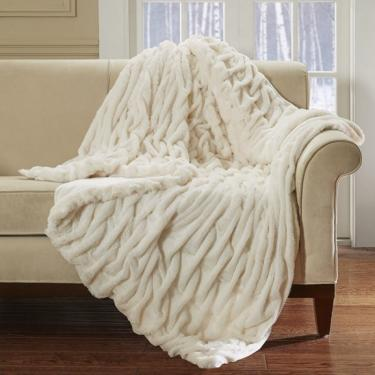 Ivory Lifestyle Ruched Fur Oversized Throw main image
