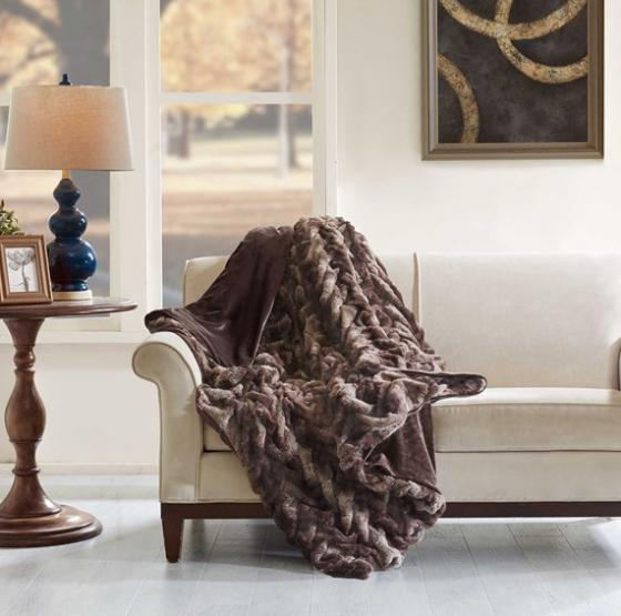 Ruched Faux Tip Dyed Fur Oversized Throw main image
