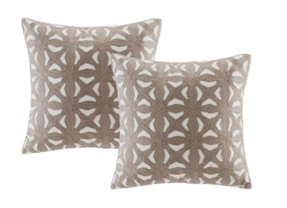 Taupe Nova Embroidered Fret Decorative Pillows main image