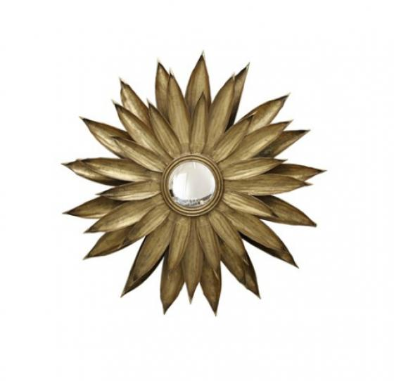 Gold Metal Leaves Surrounding a Round Wall Mirror main image