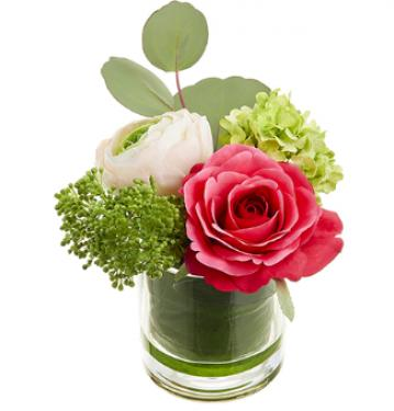 Ranunculus/Rose/ Snowball in Glass Vase Beauty Pin main image