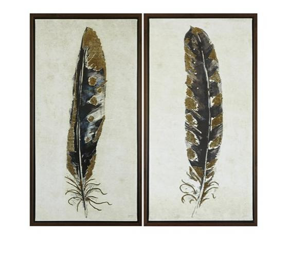 Set of 2 Gilded Feathers Printed Canvas With Gold  main image