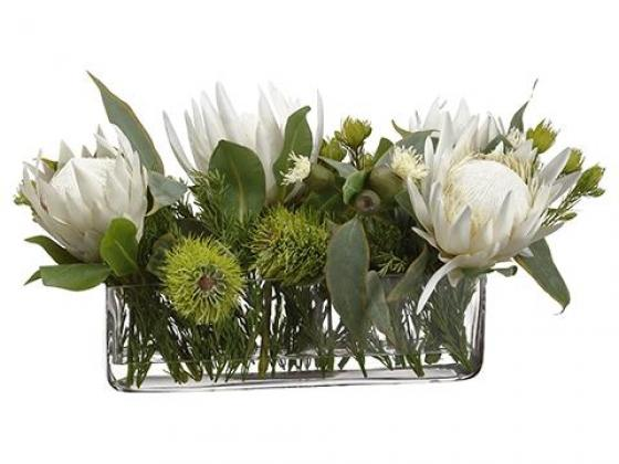 Protea/Rosemary/Wolly in Glass Vase Cream main image