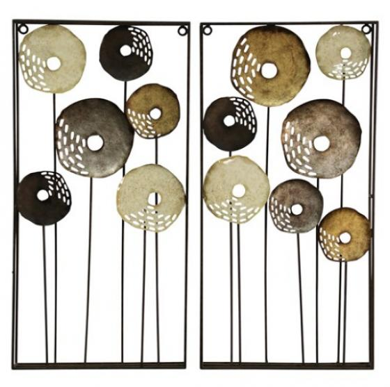 Pierced Pedal Metal Wall Hangings in Neutral Tones main image