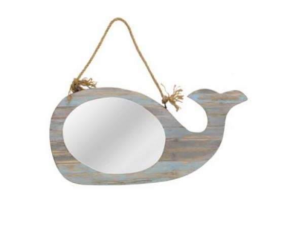 Whale Mirror Wall Hanging with Natural Rope main image