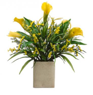 Calla Lily/Statice/Grass in Rectangular Vase Two T main image