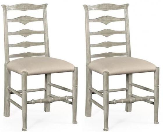 Rustic grey ladder back side chairs main image