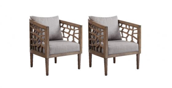 Crackle Lounge Chair Light Grey Set main image