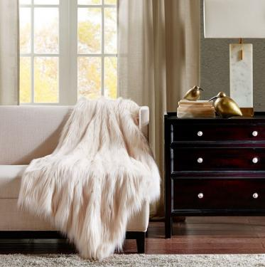 Ivory Faux Fur Throw main image