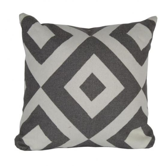 Grey and White Diamond Patterned Pillow main image