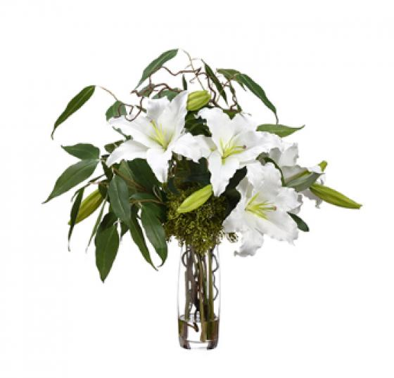 Silk Casablanca Lily/Eucalyptus in Glass Vase main image
