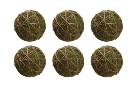 "Set of 6 - 4"" Moss Ball Ornaments main image"