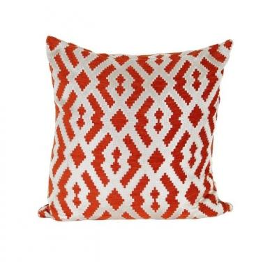 Orange and White Patterned Pillow main image