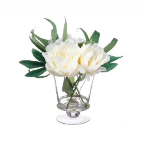 "11"" Peony in Glass Vase  Cream main image"