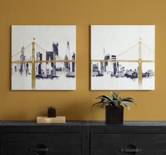 Bridge and Skyline Metallic Foil Canvas 2 Piece Se main image
