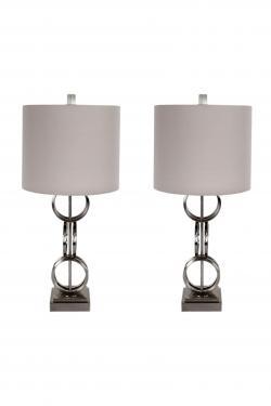 Silver & White Lamp Set main image