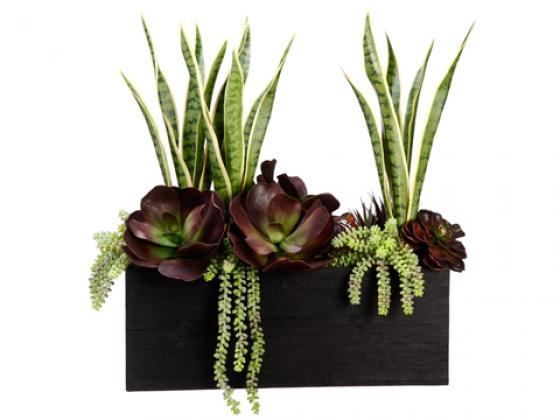 Tall Burgundy and Green Faux Succulent Arrangement main image