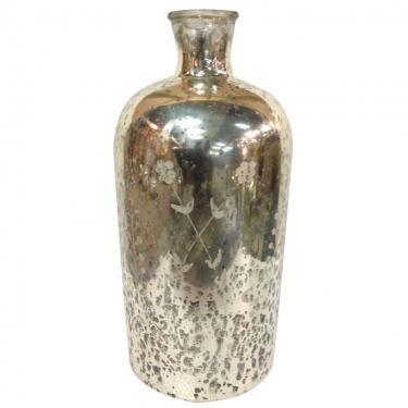Silver Antiqued Glass Bottle main image