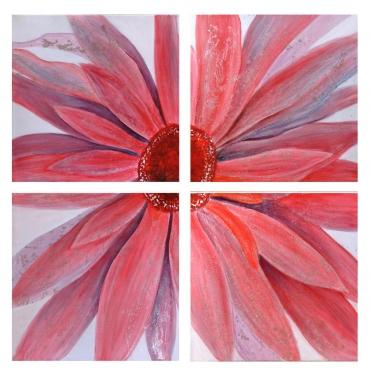 4 Piece Coral Color All Join Together Wall Art main image