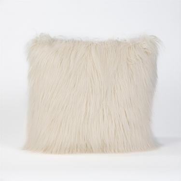 """White Faux Tibetan Lamb Pillow: 18""""x18"""" main image"""