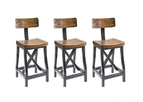 Lancaster Wood and Metal Bar Stools main image