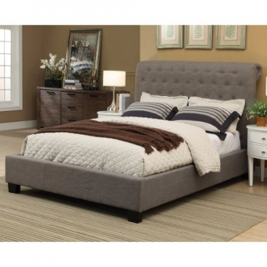 Queen Grey Tufted Bed Member Cost: $490.00 main image