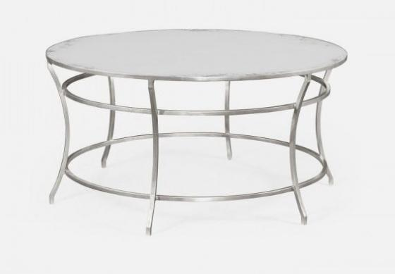 Silver Round Iron Coffee Table with An Antique Gla main image