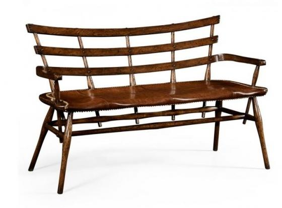 Oak Bench with Studded Leather Seat main image