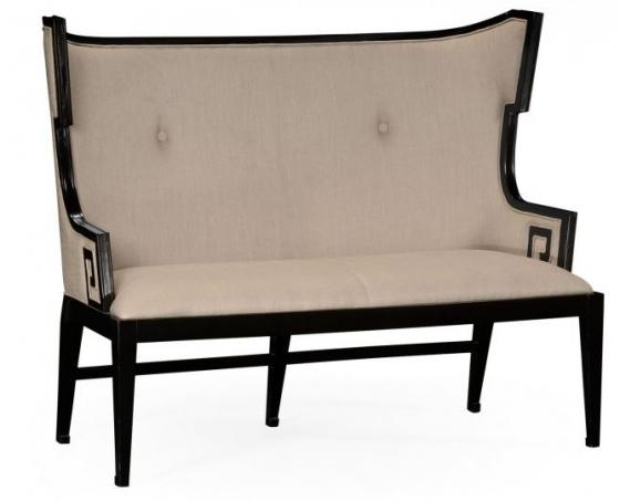 Greek Key Design Black Biedermeier Settee, Upholst main image