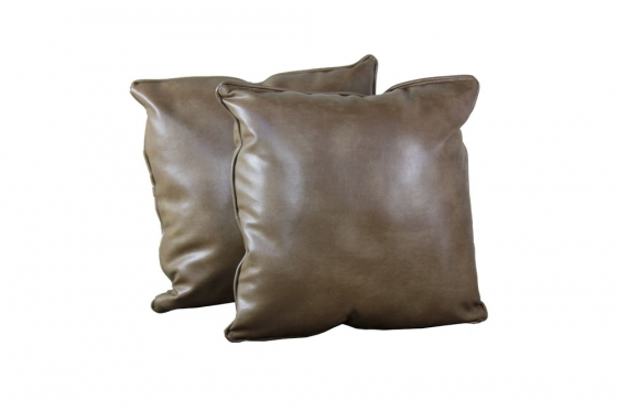 Brown Leather Style Pillows (2) main image