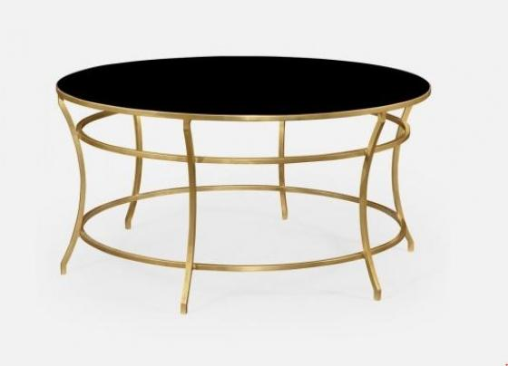 Gilded Iron Round Coffee Table with A Black Glass  main image