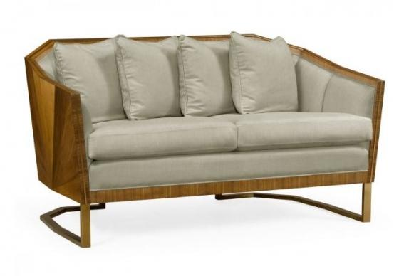 Walnut Bookmatched Sofa, Upholstered in MAZO