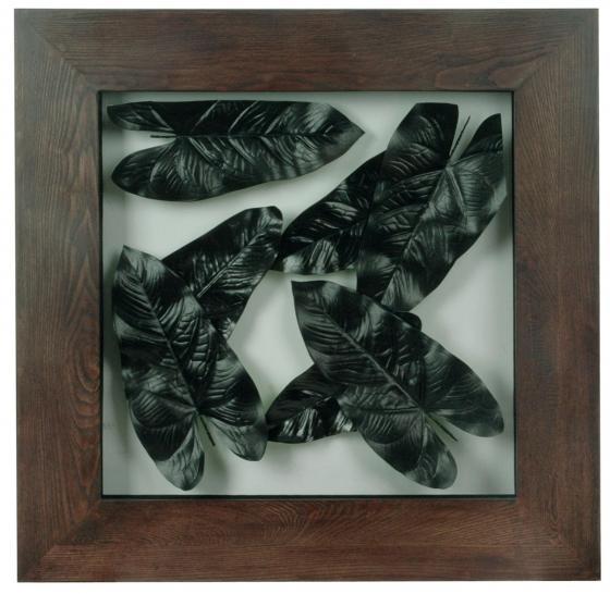 Large Framed Metal Leaves Wall Decor main image
