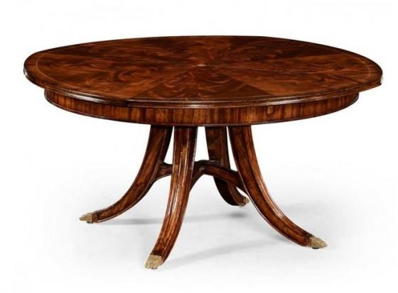 Mahogany Circular Dining Table with Self-Storing L main image