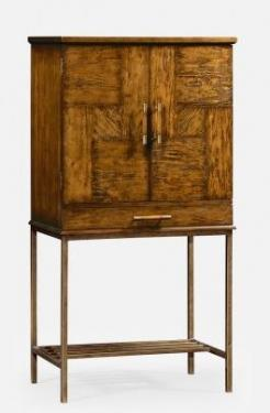 Country Walnut Drinks Cabinet with Iron Base main image