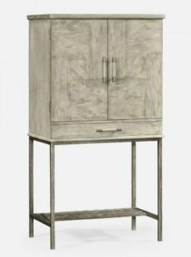 Rustic Grey Drinks Cabinet with Iron Base main image