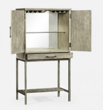 Rustic Grey Drinks Cabinet with Iron Base Image 2