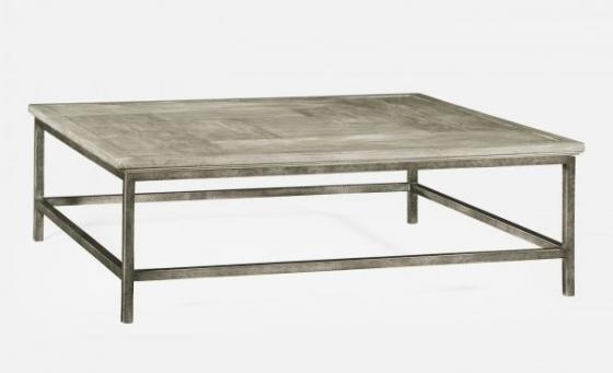 Rustic Grey Square Coffee Table with Grey Silver B main image