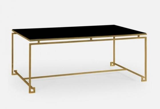 Gilded Iron Rectangular Coffee Table with A Black  main image