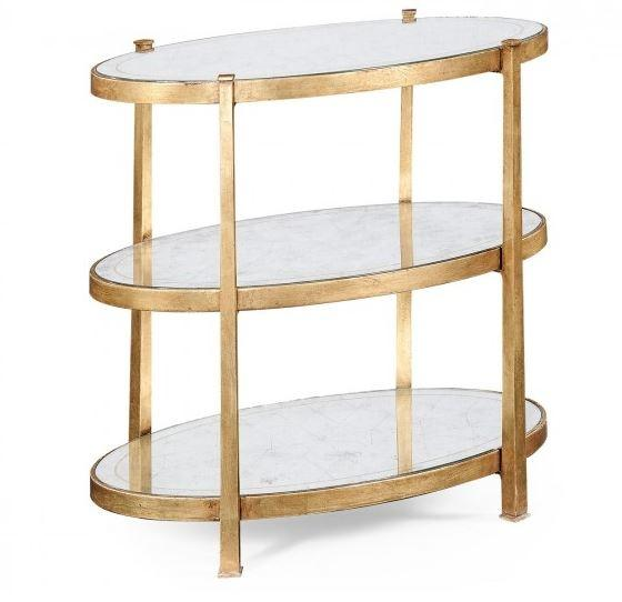 Small Églomisé & Gilded Iron Three–Tier Table main image
