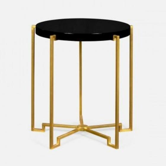 Gilded Iron Round Lamp Table with Smoky Black Top main image